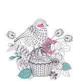 Doodle flower card with cake and bird for beautiful design. The 8th of march design, women`s day Stock Illustration