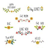 Doodle flower compositions with hand drawn text. Floral lettering for cards and postcards. Wedding and happy birthday. Compositions. Invitation and greeting royalty free illustration