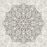 Doodle flower eamless pattern in brown tones. Vector decorative Royalty Free Stock Image