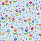 Doodle Flower Garden Seamless Repeat Pattern. Vector Illustration Background Royalty Free Stock Photos