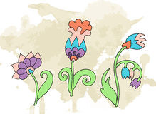 Doodle flower grunge  background Stock Image