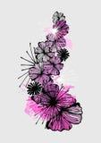 Doodle flower ink pattern Stock Images