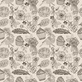 Doodle flower seamless pattern with cake and bird for beautiful Stock Photography