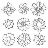 Doodle flower set. Hand drawn line sketch floral collection royalty free illustration