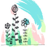 Doodle flowers. Royalty Free Stock Photo