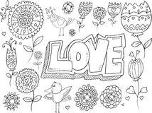 Doodle Flowers Birds Vector Royalty Free Stock Images