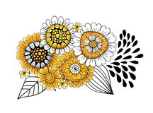 Doodle flowers bouquet Stock Photography
