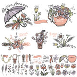 Doodle flowers, bouquet,hand sketched elements kit Royalty Free Stock Image