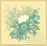 Doodle flowers frame with cloud in blue green beige Royalty Free Stock Photography