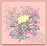 Doodle flowers frame with cloud in pink lilac blue yellow Royalty Free Stock Photos