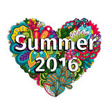 Doodle flowers heart with Summer 2016 text. Doodle flowers heart with hand drawn herbs and Summer 2016 text. Vector illustration Stock Photo