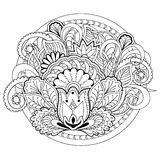 Doodle flowers, herb and mandalas Royalty Free Stock Image