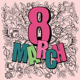 Doodle flowers illustration of eight march card, international w. Vector on Doodle flowers illustration of eight march card, international women day, can use Royalty Free Stock Photos