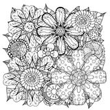 Doodle flowers and leafs Royalty Free Stock Image