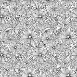 Doodle flowers monochrome seamless pattern. Royalty Free Stock Photo