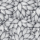 Doodle flowers outline ornamental seamless pattern Stock Photography