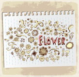 Doodle flowers on paper note, vector illustration Royalty Free Stock Photos