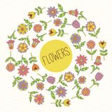 Doodle flowers round frame Stock Photography