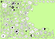 Doodle flowers seamless background Stock Photo