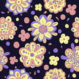 Doodle flowers seamless pattern. Cute doodle flowers seamless pattern Stock Photography