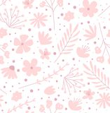 Doodle flowers seamless pattern for fabric. Girlish pink background stock photo