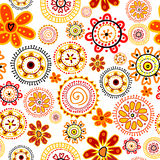 Doodle flowers seamless pattern Royalty Free Stock Photos