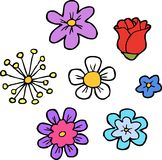 Doodle flowers set. On a white background vector illustration Royalty Free Stock Photography