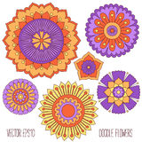 Doodle flowers set Stock Photography