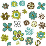 Doodle flowers set Royalty Free Stock Photos