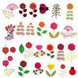 Doodle flowers set Royalty Free Stock Images