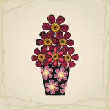 Doodle flowers in tattoo style and black vase Royalty Free Stock Photo
