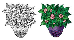 Doodle flowers and a vase. Floral pattern, hand drawing royalty free illustration
