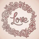 Doodle flowers wreath background and text Stock Photography