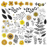 Doodle flowers in yellow and black Stock Photography