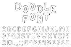 Doodle font. Hand drawn alphabet with numbers. Royalty Free Stock Images