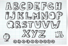 Doodle font on lined sheet Stock Photography