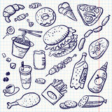 Doodle food. Fast food doodle set Royalty Free Stock Images