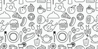 Doodle of food and drink seamless pattern vector illustration royalty free illustration