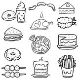 Doodle of food element collection set Stock Photography