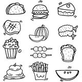 Doodle of food element set Stock Photography