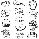 Doodle of food and fruit object Royalty Free Stock Image