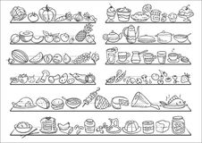 Doodle food icons royalty free illustration
