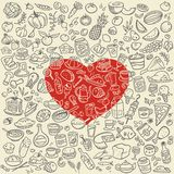Doodle food icons. Love food vector background Royalty Free Stock Images
