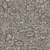 Doodle food icons seamless background royalty free illustration