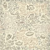 Doodle food icons seamless background stock illustration