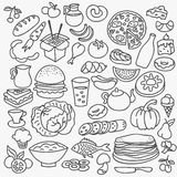 Doodle food icons. Vector hand drawn set Stock Photo