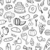 Doodle food ingredients, drinks and vegetables seamless pattern for menu design Stock Images