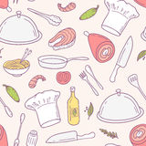 Doodle food seamless pattern in vector. Culinary Stock Images