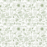 Doodle forest illustration, floral seamless pattern with forest Stock Image