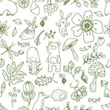 Doodle forest illustration, floral seamless pattern with forest Stock Photography